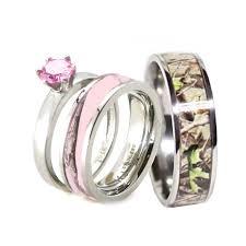 camo wedding rings his pink camo band engagement wedding ring set titanium