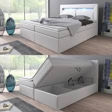 Betten Schlafzimmer Amazon Boxspringbett 160x200 180x200 Weiß Mit Bettkasten Led Kopflicht