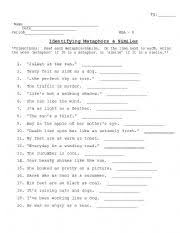 13 best images of meaning metaphor worksheet 6th grade simile