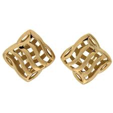 small gold cushion trellis over and under earrings for sale at 1stdibs