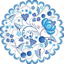 blue flowers floral russian ornament gzhel frame vector