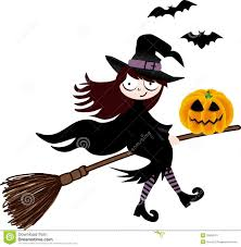 witch on a broom with pumpkin royalty free stock photos image