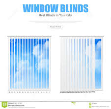 two windows with blinds overlooking cloudy sky stock vector
