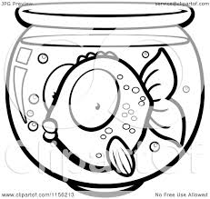 cartoon clipart of a black and white surprised goldfish in a bowl