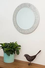 home treats round crackle wall mirror handmade glass mosaic silver