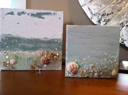 mini painted canvas w beach sand shells and crushed glass www