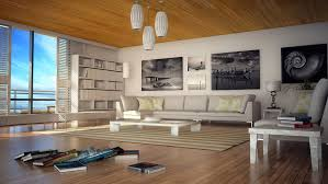 stylish living room design with wide leather sofas and wooden