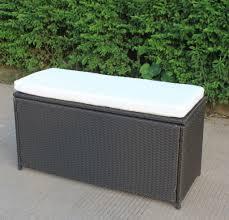 B Q Garden Furniture Furniture Interesting Black Wicker Outdoor Storage Bench With