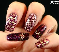 geometric glitz stamped nail art feat black cat lacquer