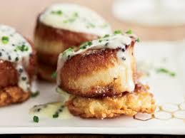 halloween pancakes scallops with potato pancakes and caviar sauce recipe jon shook