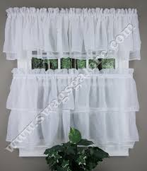 Ruffled Kitchen Curtains Tier And Valance Curtains White Lorraine Kitchen