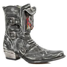 m wst024 c2 new rock black distressed effect pocket ankle cowboy