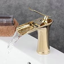 Polished Gold Bathroom Faucets by Beelee Single Handle Single Hole Waterfall Bathroom Sink Faucet