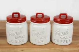 Red Ceramic Canisters For The Kitchen 100 Ceramic Kitchen Canister Set Vintage Kitchen Canister