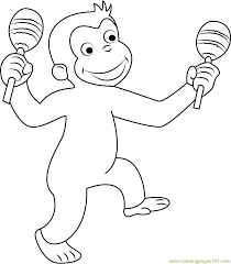 curious george dancing coloring page free curious george
