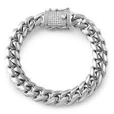 diamond stainless steel bracelet images 14mm stainless steel cuban bracelet diamond lock jewelryfresh jpg