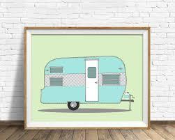 vintage camper camper trailer drawing mid century modern large