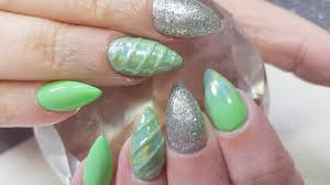 acrylic nails gel polish green holo u0026 mistery nail design youtube