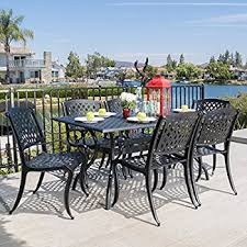 How To Clean Cast Aluminum Patio Furniture Amazon Com Cbm Outdoor Cast Aluminum Patio Furniture 7 Pc Dining