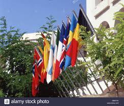 european flags outside hotel santa eularia des riu ibiza