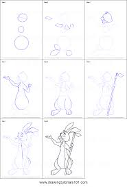 draw rabbit winnie pooh printable step step