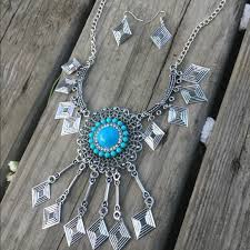 silver turquoise necklace images Vintage boho silver turquoise necklace earrings poshmark jpg