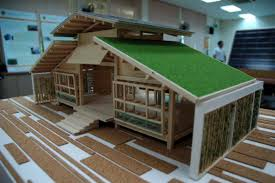 miniature bamboo house design and floor plan architecture with