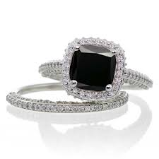 black engagement ring set 2 5 carat cushion cut designer black and halo