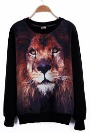 round neck long sleeve lion print sweatshirt sheinside com
