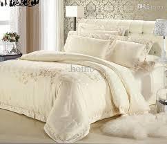 White Silk Bedding Sets White Satin Comforter Set Luxury European Beige Gold Bedding Sets