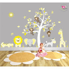 safari fabric nursery wall stickers jungle wall stickers yellow and grey nursery