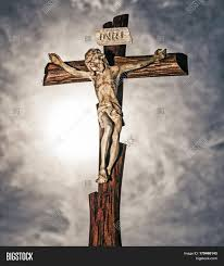 jesus on cross sunrays on image photo bigstock