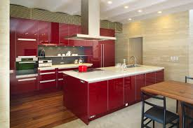 Red Lacquer Kitchen Cabinets Contemporary Kitchen Wooden Island Lacquered Sophisticated