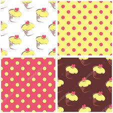 seamless vector background set with polka dots and cupcakes