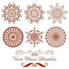 henna invitation set from vector henna color flower mandala white background