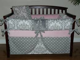 Pink And Brown Damask Crib Bedding Baby Bedding Light Pink Gray Damask Crib Bedding 5pc