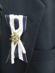 Nautical Themed Ribbon - nautical themed groom or groomsmen boutonniere by chikapea on etsy