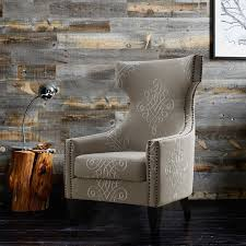 Wing Chair Gramercy Embroidered Linen Wing Chair Tov Furniture Modern