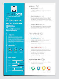 Flat Resume Design Flat Resume With Infographics Stock Vector Image 58806595