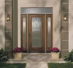 fiberglass exterior single entry doors with transom sidelights and