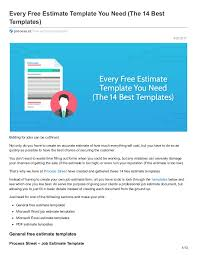 every free estimate template you need the 14 best templates