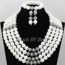 silver plated bead necklace images Pure white coral beads bridal jewelry sets silver plated jpg