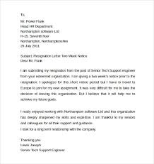 sample resignation letter 2 week notice resign letter sample 2016