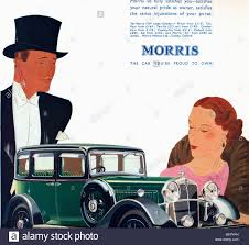 detail of an art deco style advertisement for the morris car from