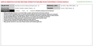 chemical operator resume abrasive coating machine operator resume sample building operator