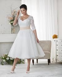vintage 2016 lace plus size wedding dresses sleeves tea length