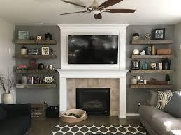 barnwood floating shelves shiplap fireplace books and decor home