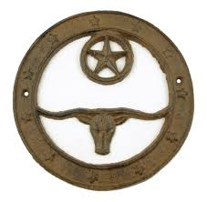 western cast iron longhorn circle stars rustic custom work item