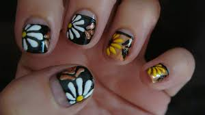 daisy nail art design floral nail art tutorial youtube