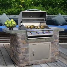 cal flame 7 ft natural stone grill island with 4 burner gas grill